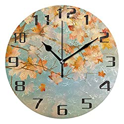 Autumn Maple Leaves Silent Non Ticking Round Acrylic Wall Clock Home Office School Decorative Clock Art