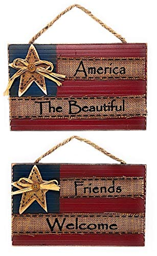 "D.I. Inc Patriotic Americana America The Beautiful/Friends Welcome Rustic Wood Decor Art Wall Front Door Display Set of 2 (10.5"" x 6.5"")"