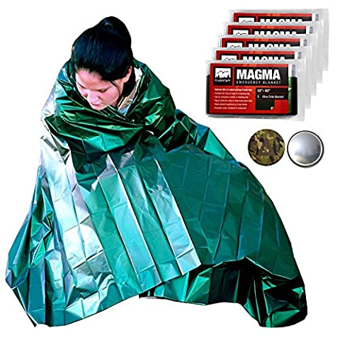 MAGMA Emergency Mylar Survival Blankets (5 Pack) - Olive Drab & Reflective, Reusable Thermal Blanket to Maximize Body Heat Retention - Military Grade + FREE Camo Signaling Mirror