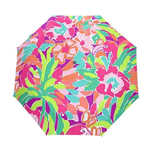 ANINILY Lilly Pulitzer Pattern 3 Folds Auto Open Close Umbrella, Black Glue Anti UV Coating, Compact Folding Umbrellas for Women Men