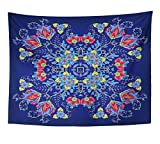 Emvency Tapestry Wall Hanging Pillow Design for Pocket Shawl Floral Pattern Bright Colorful on Blue Batik 60x80 Inches Polyester Fabric For Living Room Dorm Bedroom Decorations