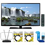 Samsung 40-Inch Full HD 1080p 120hz Smart LED HDTV (UN40J6200AFXZA) with Durable HDTV and FM Antenna, 2x 6ft High Speed HDMI Cable Black & Universal Screen Cleaner for LED TVs Large Bottle