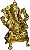 Cultural Hub  J92-600-0033 Ganesh, Ganpati, Brass Statue Indian Hand Crafted Religious Sculpture of Ganesha, Antique Look Solid Brass Sculpture Artifact, Vintage Decorative, Valuable Collection, Brass Finish, Handcrafted Religious Gift, Home Decor Measures Height 5.5 Inches and Weighs 2.2 Lb (1KG)