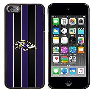 Baltimore Cuervo Fútbol- Metal de aluminio y de plástico duro Caja del teléfono - Negro - iPod Touch 6