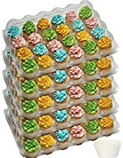 5-24 Compartment cupcake containers plastic disposable High Dome Cupcake carrier Plastic Boxes - Great for high topping - 24 slot each - Plus White standard size baking cups…