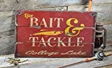 College Lake Colorado, Bait and Tackle Lake House Sign - Custom Lake Name Distressed Wooden Sign - 27.5 x 48 Inches