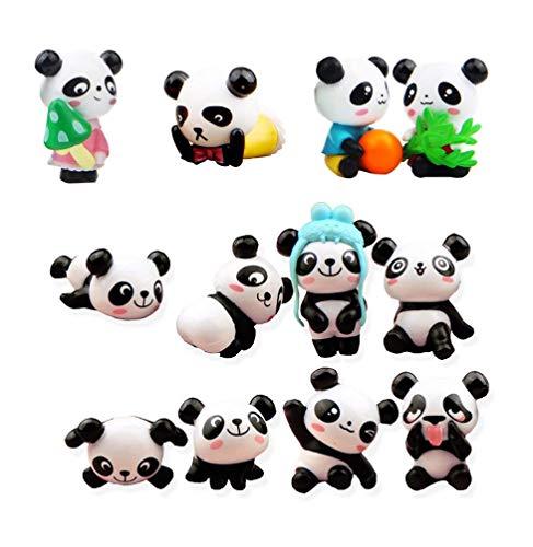 Panda Cake Toppers, Fashionclubs 12pcs Cute Panda Toys Figurines Playset for Cake Decoration, DIY Fairy Garden Miniature Ornaments -