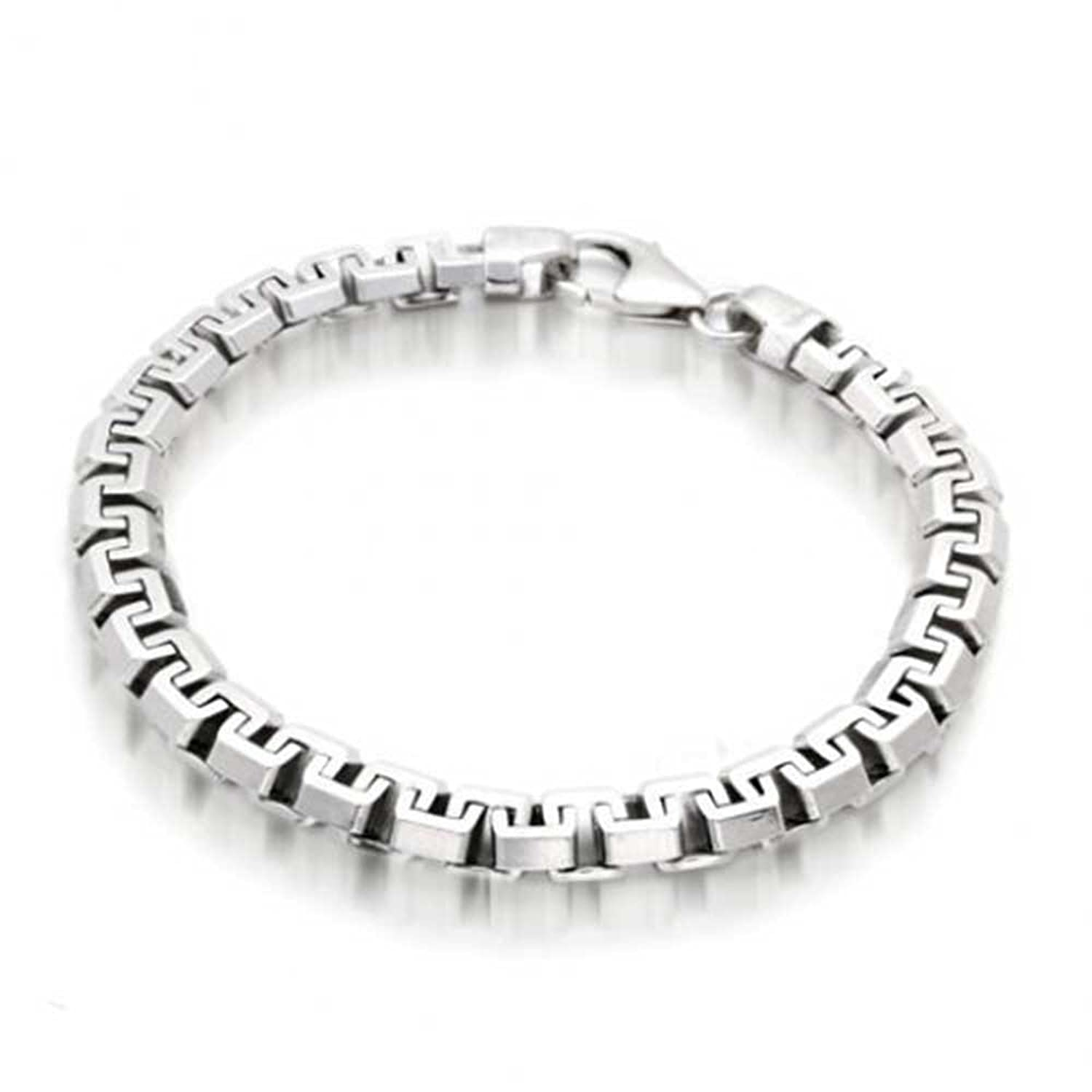 Amazon.com: Bling Jewelry Mens Square Link Chain Bracelet 925 ...