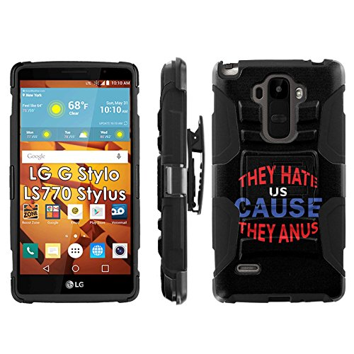 LG G Stylo LS770 H631 Phone Cover, Hate Us- Blitz Hybrid Armor Phone Case for [LG G Stylo LS770 H631] with [Kickstand and Holster] by Mobiflare