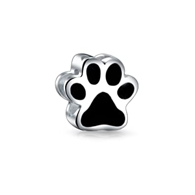 dd02d19fa Puppy Cat Paw Print Bead Charm Dog Animal Black Enamel Heart Detail 925  Silver: Amazon.co.uk: Jewellery