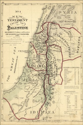 24x36 Poster; New Testament Map Palestine Israel Holy Land 1881; Antique Reprint by Welsh Printing