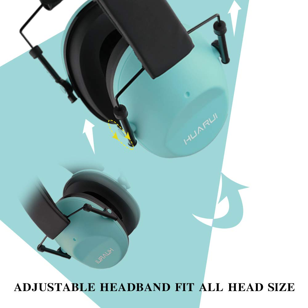Adjustable Shooting Ear Muffs,Shooters Ear Protection Safety Ear Muffs Lake Blue Noise/Cancelling/Ear/Muffs for Shooting Hunting Lightweight Ear Muffs Noise Protection HUARUI