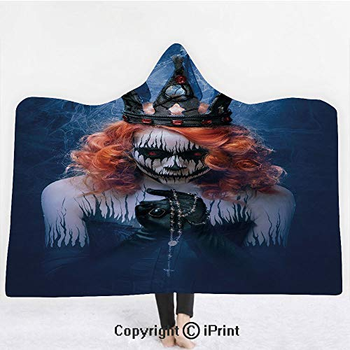 "(Queen 3D Print Soft Hooded Blanket Boys Girls Premium Throw Blanket,Queen of Death Scary Body Art Halloween Evil Face Bizarre Make Up Zombie,Lightweight Microfiber(Kids 50""x60"")Navy Blue Orange)"