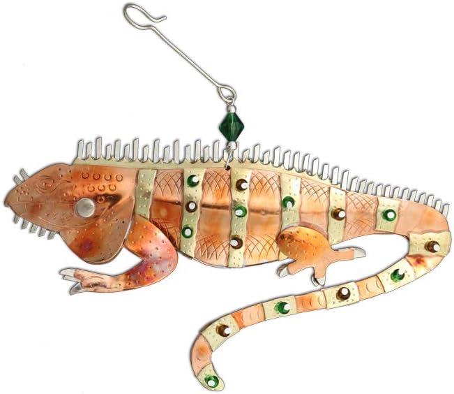 Pilgrim Imports Iguana Lizard Bronze Nickel and Copper Hanging Ornament Garden Planter Handmade Gift Packaged