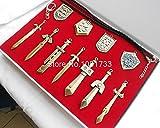 Gold The Legend of Zelda Weapons Link Swords 11pcs/set Keychains Necklace