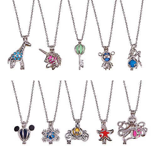 SUNNYCLUE 10 Sets Mixed Shape Hollow Silver Plated Bead Cage Oil Diffuser Pendant Necklace Making Kits - Perfume Fragrance Essential Oil Aromatherapy Diffuser Charms Pendant with 18