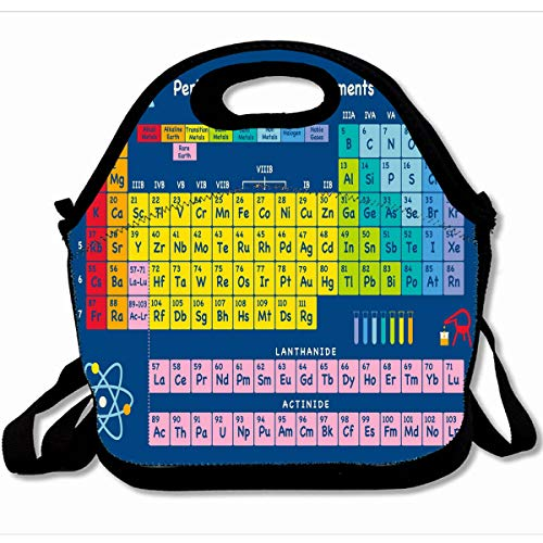 Ahawoso Reusable Insulated Lunch Tote Bag Periodic Table Of Elements 10X11 Zippered Neoprene School Picnic Gourmet Lunchbox ()