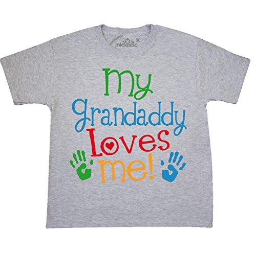 inktastic My Grandaddy Loves Youth T-Shirt Youth Medium (10-12) Ash Grey (Love Ash Grey T-shirt)