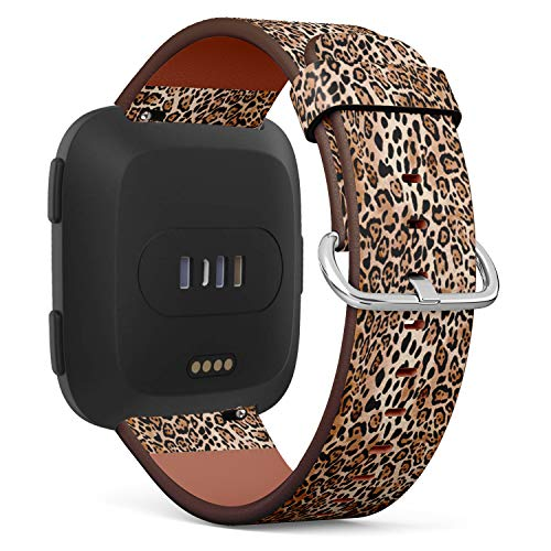 (Compatible with Fitbit Versa - Quick Release Leather Wristband Bracelet Replacement Accessory Band - Natural Animal Print)