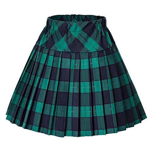 (Urban CoCo Women's Elastic Waist Tartan Pleated School Skirt (X-Large, Series 5 Green))