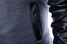 Neleus Men\'s Stand Collar Leather Sleeves Slim Fit Jacket,0205# Black,US M,Asia 2XL