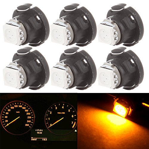 cciyu 6 Pack T4.7 Neo Wedge 5050 Led for Instrument A/C Climate Heater Control Bulbs Lamp Light (yellow) (A/c F-150 Ford 1988)