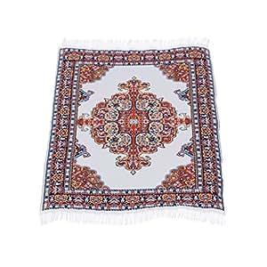 Prettyia Dolls House Miniature Rug Turkish Woven Floor Carpet Furniture Accessory B#