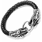 "Leather Mens Bracelet with Locking Stainless Steel Dragon Head Clasp, Black Silver 21.5cm (8 1/2"")"