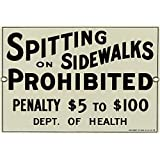 No Spitting on Sidewalks Porcelain Sign Wall Sign 10 x 7in
