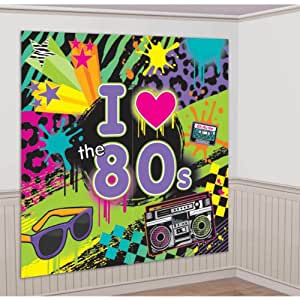 """Amscan Awesome 80's Party Wall Scene Setter Decorating Kit (2 Piece), Multi Color, 14.5 x 10"""""""