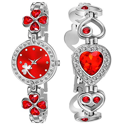 Rage Enterprise Stylish Double Stone Lovers Bracelet with Women Analog Watch for Girls