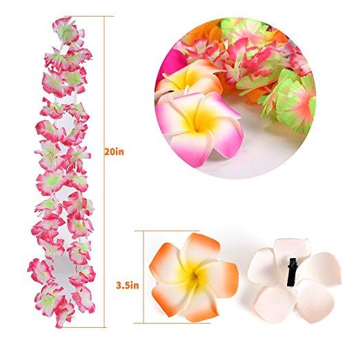 Hawaiian Luau Party Supplies-Hawaiian Leis(36Ct) with Hawaiian Flower Hair Clips(16pcs), Perfect for Your Hawaii Luaus