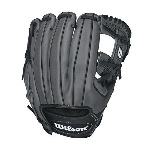 (Wilson 6-4-3 Pedroia Fit Infield Baseball Glove, Black/Coal/White, 11.5-Inch, Right Hand Throw)