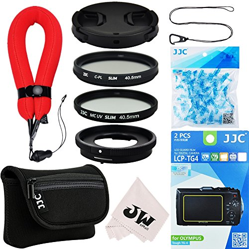 10in1 Accessories Kit for Olympus Tough TG-5 TG-4 TG-3: Lens Adapter as CLA-T01+Screen Protector+Camera Case+Wrist Strap+40.5mm UV+CPL Filter+Lens Cap+Cap Keeper+Desiccants Silica Gel+Microfiber Cloth