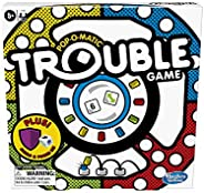 Trouble Board Game Includes Bonus Power Die and Shield, Game for Kids Ages 5 and Up, 2-4 Players (Amazon Exclu