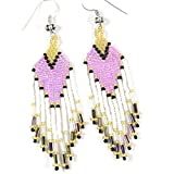 Viva Purple White Golden Seed Beads Beaded Earrings E-15-SB-26