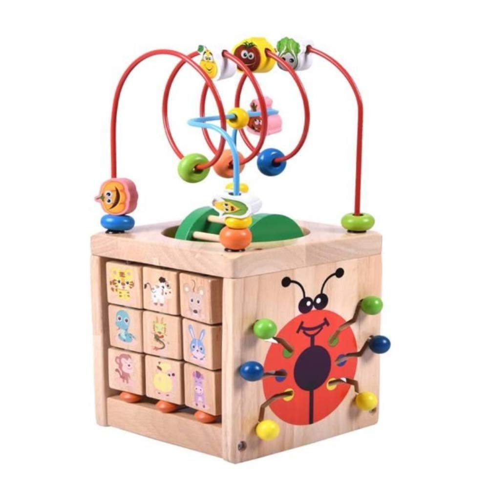 AOTUOTECH 7-in-1 Activity Cube Toys Baby Educational Wooden Bead Maze Toy Play Center Boys Girls Kids Toddlers Gift
