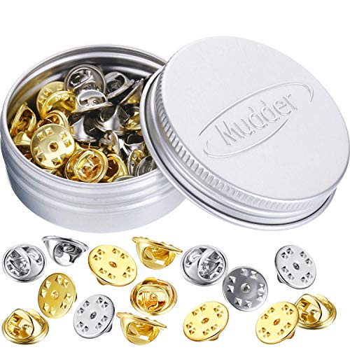 (Brass Butterfly Clutch Badge Insignia Clutches Pin Backs Replacement (Gold, Silver, 50 Pieces))