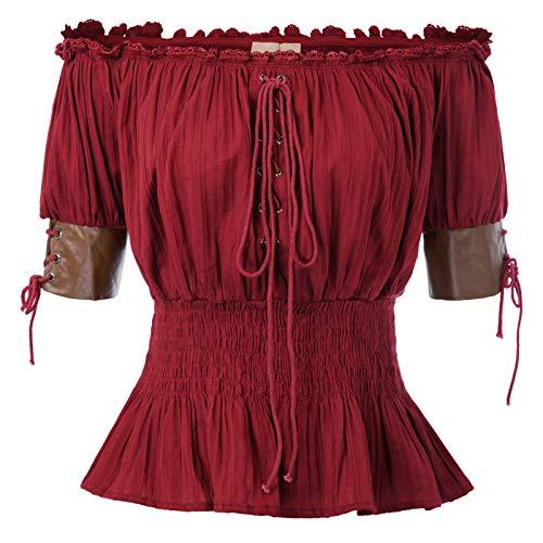 Belle Poque Dames Vintage Victoriaanse halve mouw Lace-Up Boho Off Shoulder Tops