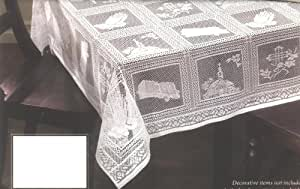 "Praying Hands Lace Tablecloth 60"" X 84"" Color White"