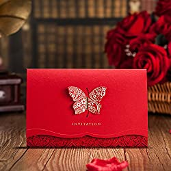 VEMELKA Laser Cut Butterfly Wedding Invitations Cards Red Set of 50pcs Invite Card for Engagement-Graduation-Bridal-Shower CW504