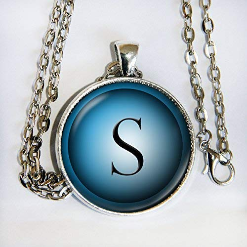 Blue Hues Initial necklace - letter, alphabet