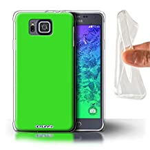 STUFF4 Gel TPU Phone Case / Cover for Samsung Galaxy Alpha / Green Design / Colours Collection