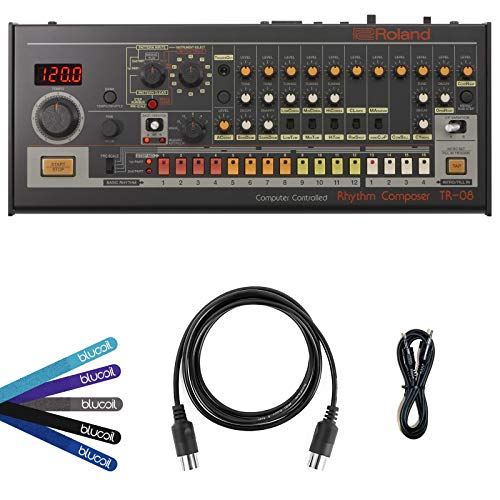 Roland TR-08 Rhythm Composer Sound Module with Built-In Speaker BUNDLED WITH Hosa 3-Ft CMM-103 TRS to TRS Stereo Interconnect Cable, Blucoil 5-Ft MIDI Cable AND 5-Pack of Cable Ties