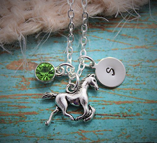 Bucking Horse (Horse Necklace - Rodeo Necklace - Horseback Riding Necklace - Horse Lover Gift - Little Girls Gift - Custom Birthstone Color - Custom Initial - FREE)