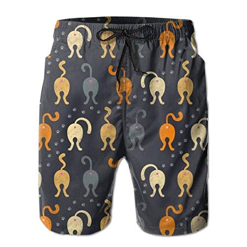 Cat Butts - Halloween_1203Men's Summer Beach Shorts,2XL ()