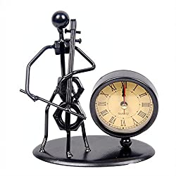 Classic Vintage Old Fashion Iron Art Musician Clock Figure Ornament For Home Office Desk Decoration Gift (C62 Cello)