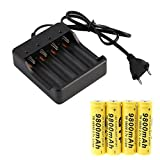 Besde Clearance 4 x 18650 3.7V 9800mAh Li-ion Rechargeable Battery Smart Charger Indicator (Black, 1Set)