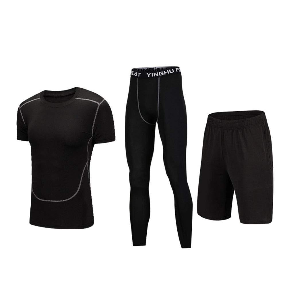 Wuxingqing Gym Wear Fitness Bekleidung Set Männer 3 Stück Quick Dry Compression Sports Set mit Compression Enge Hosen, Kompressions-Kurzarm-T-Shirt, Shorts (Color : Black, Size : M)