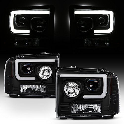2007 Ford F350 - For 2005-2007 Ford Pickup F250 F350 F450 Superduty Black LED Tube Projector Headlights Left+Right Pair